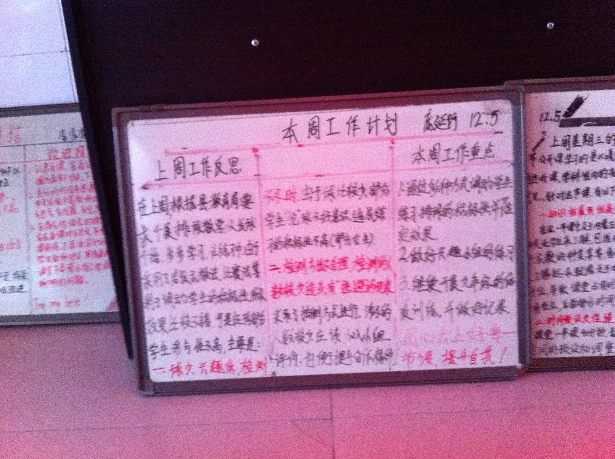 山东省杜郎口中学教师反思板