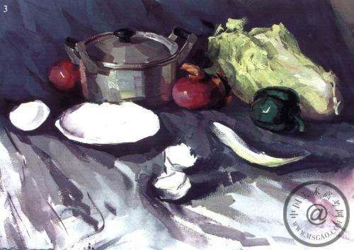 《蔬菜和铝锅》水粉色彩步骤图