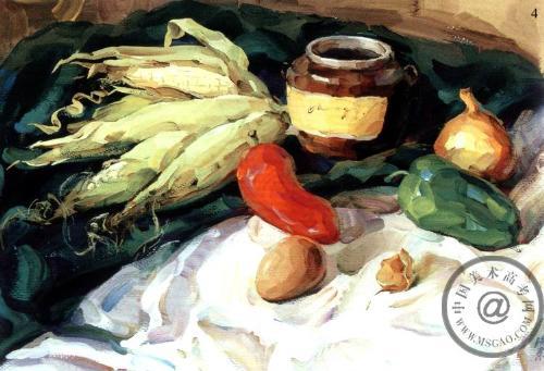 《有玉米的静物》水粉步骤图