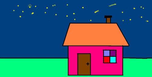 动漫夜晚小房子外景